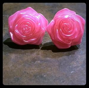 Pink Shiny Acrylic Rose Stud Earrings